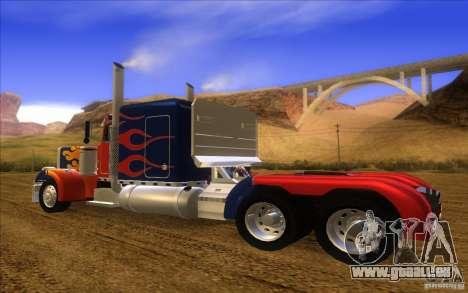 Truck Optimus Prime v2.0 pour GTA San Andreas sur la vue arrière gauche