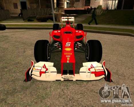 Ferrari Scuderia F2012 für GTA San Andreas rechten Ansicht