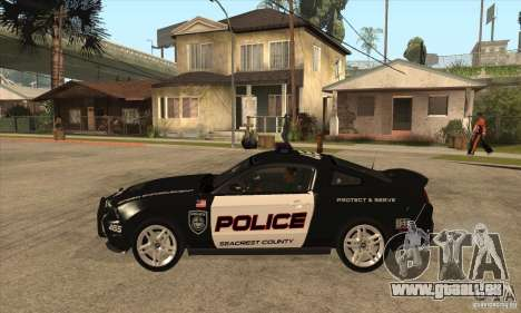 Shelby GT500 2010 Police pour GTA San Andreas laissé vue