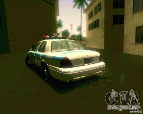 Ford Crown Victoria 2003 NYPD police V2.0 für GTA San Andreas zurück linke Ansicht