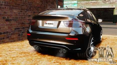 BMW X6 M 2010 pour GTA 4 Vue arrière de la gauche