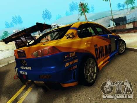 Mitsubishi Lancer Evolution pour GTA San Andreas vue de droite