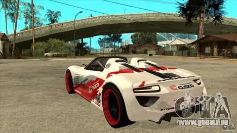 Porsche 918 Spyder Consept für GTA San Andreas zurück linke Ansicht