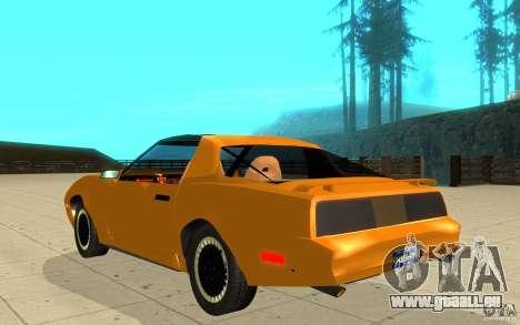 Pontiac Firebird 1989 K.I.T.T. pour GTA San Andreas sur la vue arrière gauche