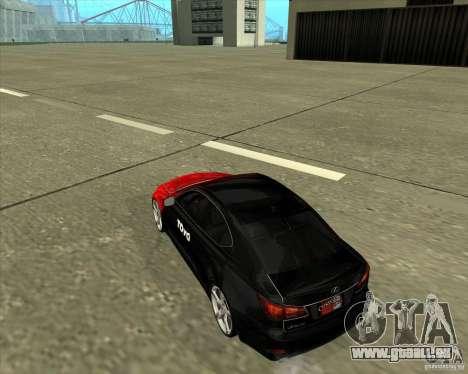 Lexus IS350 de NFS Pro street pour GTA San Andreas sur la vue arrière gauche