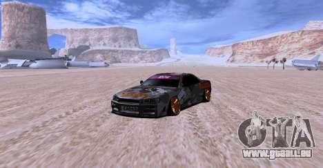 Nissan Skyline GTR34 MAXXIS für GTA San Andreas zurück linke Ansicht