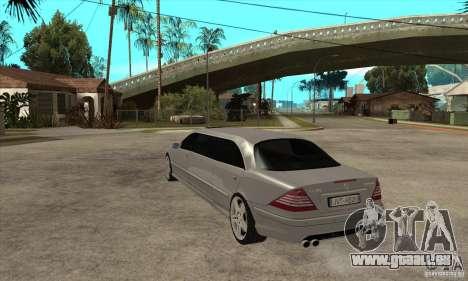 Mercedes-Benz CL65 Limusine für GTA San Andreas zurück linke Ansicht