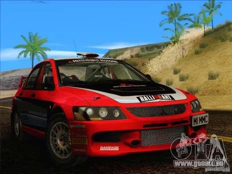 Mitsubishi Lancer Evolution IX Rally für GTA San Andreas zurück linke Ansicht