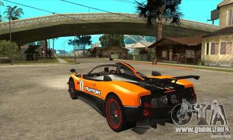 Pagani Zonda Cinque pour GTA San Andreas sur la vue arrière gauche