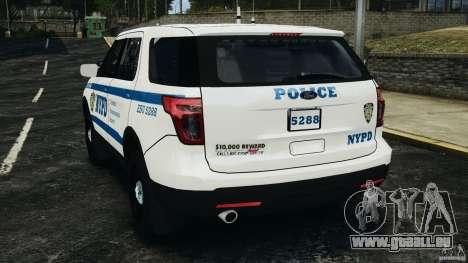Ford Explorer NYPD ESU 2013 [ELS] pour GTA 4 Vue arrière de la gauche