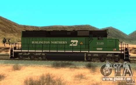SD 40 Union Pacific Burlington Northern 3149 für GTA San Andreas linke Ansicht