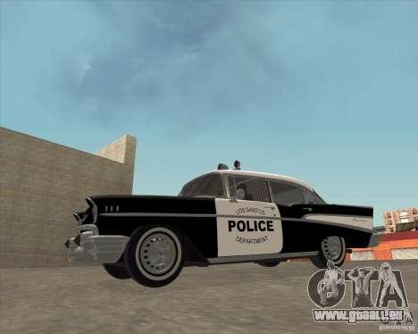 Chevrolet BelAir Police 1957 pour GTA San Andreas vue de droite