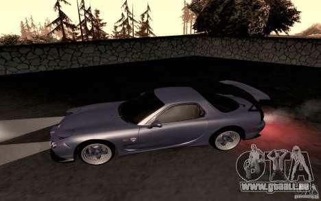Mazda RX-7 Hellalush pour GTA San Andreas sur la vue arrière gauche