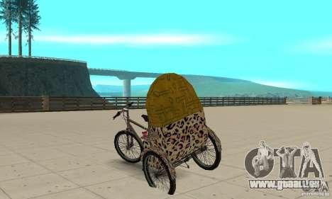Manual Rickshaw v2 Skin4 pour GTA San Andreas sur la vue arrière gauche