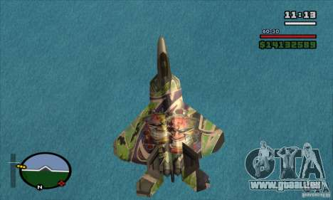 F-22 Raptor Graffity Skin für GTA San Andreas zurück linke Ansicht
