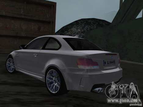 BMW 1M Coupe RHD pour GTA Vice City sur la vue arrière gauche