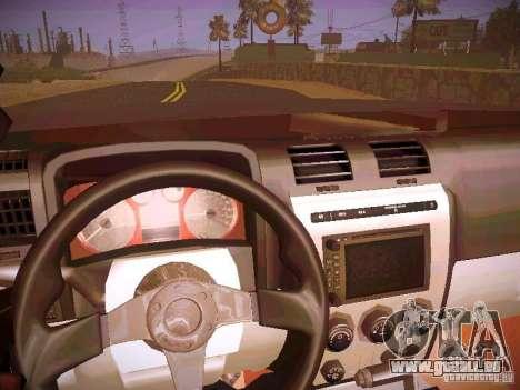 Hummer H3R pour GTA San Andreas vue intérieure