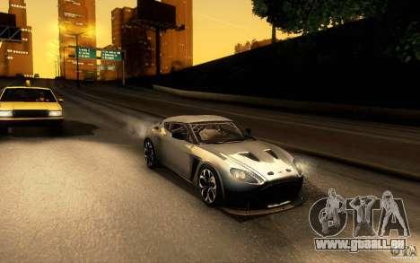Aston Martin Zagato V12 V1.0 pour GTA San Andreas laissé vue