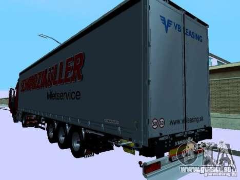 Trailer für Volvo FH13 für GTA San Andreas zurück linke Ansicht
