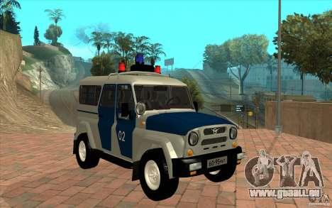 Bobik UAZ-3159 Police c. 2 pour GTA San Andreas vue arrière