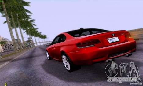 BMW M3 E92 v1.0 pour GTA San Andreas laissé vue