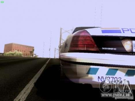 Ford Crown Victoria Canadian Mounted Police pour GTA San Andreas sur la vue arrière gauche