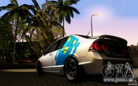 Honda Civic FD BlueKun pour GTA San Andreas sur la vue arrière gauche