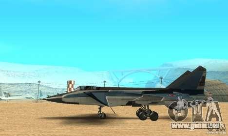 MiG-31 Foxhound für GTA San Andreas zurück linke Ansicht