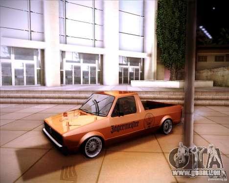 Volkswagen Caddy Custom 1980 für GTA San Andreas Rückansicht