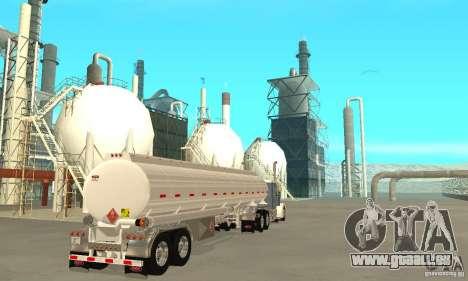 Peterbilt 379 Custom And Tanker Trailer für GTA San Andreas zurück linke Ansicht