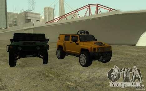 Hummer H3R pour GTA San Andreas vue de dessus