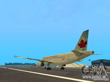 Airbus A319 Air Canada pour GTA San Andreas sur la vue arrière gauche