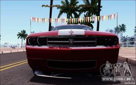 Dodge Challenger Rampage Customs pour GTA San Andreas vue de dessous