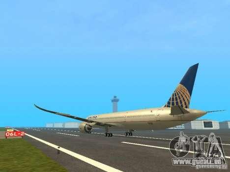 Boeing 787 Dreamliner United Airlines für GTA San Andreas zurück linke Ansicht