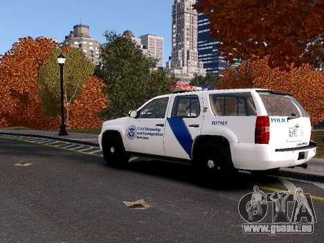 Chevrolet Tahoe Homeland Security pour GTA 4 Vue arrière de la gauche