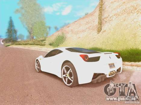 Ferrari 458 2010 für GTA San Andreas linke Ansicht