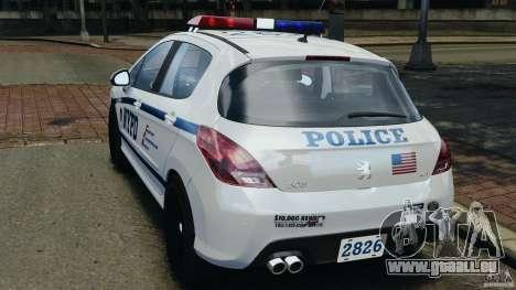 Peugeot 308 GTi 2011 Police v1.1 pour GTA 4 Vue arrière de la gauche