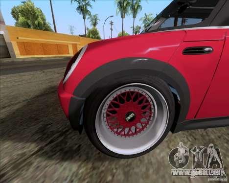 Mini Cooper S Euro pour GTA San Andreas vue intérieure