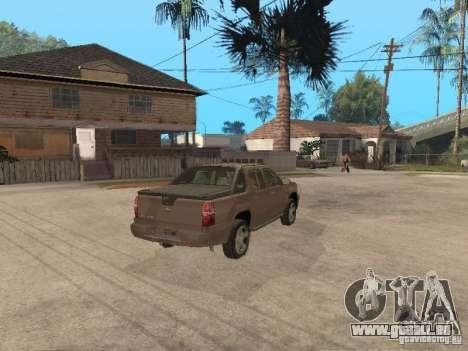 Chevrolet Avalanche pour GTA San Andreas sur la vue arrière gauche