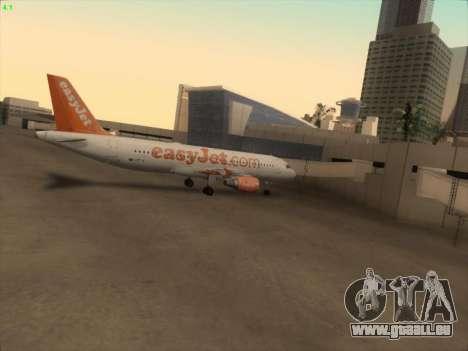 Airbus A320-214 EasyJet pour GTA San Andreas vue de dessous