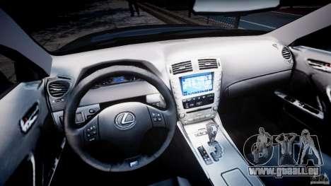 Lexus IS F pour GTA 4 Vue arrière