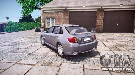 Subaru Impreza WRX 2011 pour GTA 4 Vue arrière de la gauche
