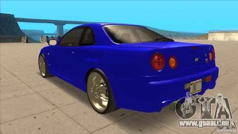 Nissan Skyline R34 FNF4 pour GTA San Andreas sur la vue arrière gauche