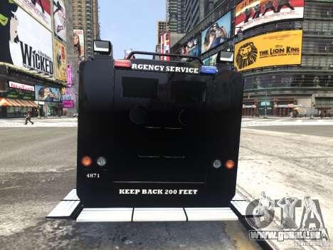 Lenco BearCat NYPD ESU V.1 pour GTA 4 Vue arrière de la gauche