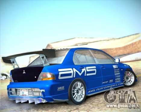 Mitsubishi Lancer Evolution IX Tunable pour GTA San Andreas laissé vue