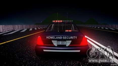 Ford Crown Victoria Homeland Security [ELS] pour GTA 4 est une vue de dessous