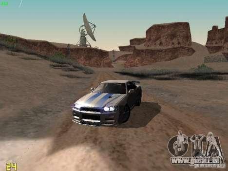 Nissan Skyline GT-R R34 V-Spec für GTA San Andreas obere Ansicht