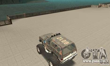 Chevrolet Blazer K5 Monster Skin 6 pour GTA San Andreas sur la vue arrière gauche