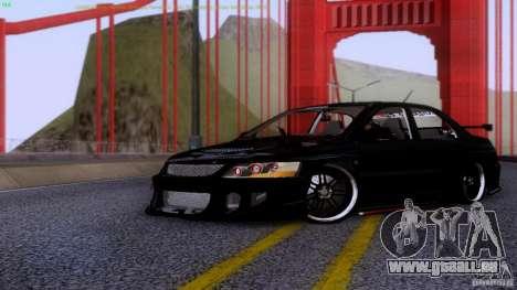Mitsubishi Lancer Evolution 8 Drift pour GTA San Andreas laissé vue