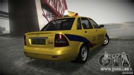 LADA Priora 2170 Taxi TMK Afterburner pour GTA San Andreas sur la vue arrière gauche